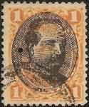 Stamps Peru -  Emisión 1874-79 resellada con el busto del General Remigio Morales Bermudez