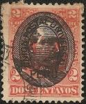 Stamps America - Peru -  Emisión 1874-79 resellada con el busto del General Remigio Morales Bermudez y la herradura doble de