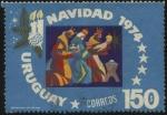 Sellos de America - Uruguay -  Los tres reyes magos y el niño Jesús. Navidad año 1974.