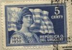 Stamps of the world : Uruguay :  25 de agosto de 1830, declaratoria de indepencia de Uruguay. Primer símbolo nacional. La bandera uru