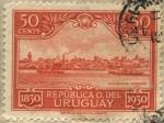 sellos de America - Uruguay -  100 años de la declaratoria de la independencia de Uruguay. Paisaje de Montevideo moderno visto desd