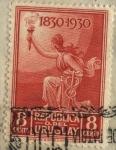Stamps Uruguay -  100 años declaratoria de lndependencia del Uruguay. Figura alegórica mujer con antorcha y caduceo  r