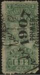 Sellos de America - Uruguay -  Escudo Nacional. Timbre impuesto de 1907, primer trimestre. 1907 2 centésimos