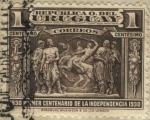 Sellos del Mundo : America : Uruguay : Monumento al gaucho de José Luis Zorrilla de San Martín. Escultura en piedra en uno de los 4 lados d