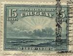 Stamps of the world : Uruguay :  100 años de la declaración de independencia del Uruguay. Paisaje de Amanecer en el Océano Atlántico