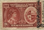 Stamps of the world : Uruguay :  100 años declaratoria independencia del Uruguay. Alegoría a la Libertad y Escudo Nacional Uruguayo.