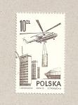 Sellos de Europa - Polonia -  Helicóptero apoyando la construcción