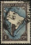 Stamps Argentina -  Mapa de América del Sur con el contorno de la Argentina, sin contorno de los demás países.