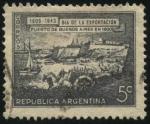Sellos del Mundo : America : Argentina : Paisaje del puerto de Buenos Aires en el año 1800. 15 de agosto día de la exportación nacional.