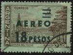 Stamps Argentina -  Riqueza Austral. Tierra deL Fuego. Bosques,  Pozos petrolìferos y rebaño de ovinos. Sobreimpreso Aér