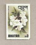 Sellos de Asia - Bhután -  Rhodondedron fortunei
