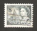 Stamps : America : Canada :  reina elizabeth II y la biblioteca del parlamento de ottawa