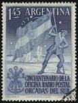 Sellos de America - Argentina -  Cincuentenario de la oficina radio postal de las Orcadas del Sur. Bandera Argentina.