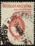 Stamps Argentina -  Honestidad, Justicia, Deber. Conmemorativos del Movimiento Revolucionario del 4 de junio de 1943. Es