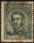 Sellos de America - Argentina -  Sello Ministerial de la Nación Argentina. Libertador General San Martín. Sobreimpreso M..M Ministeri