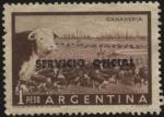 Sellos de America - Argentina -  Sello del Servicio Oficial de la Nación. Riquezas argentinas. Ganadería. Sobreimpreso SERVICIO OFICI