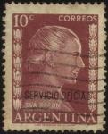 Stamps Argentina -  Sellos del Servicio Oficial de la Presidencia de la Nación. Eva Perón. Sello sobreimpreso servicio o