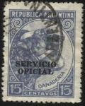 Stamps Argentina -  Riquezas Argentinas. Cabeza de vacuno. Sobreimpreso SERVICIO OFICIAL
