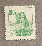 Sellos de Asia - China -  Campesina con cordero