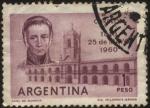 Sellos de America - Argentina -  150 años de la Revolución de Mayo. Antiguo Cabildo de Buenos Aires y el General Saavedra Presidente