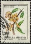 Stamps Argentina -  Flor Guarán amarillo - Guaranday -Tecoma stans -