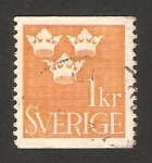 Stamps : Europe : Sweden :  tres coronas