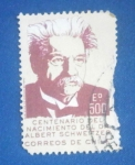 Stamps Chile -  Centenario del nac. de Albert Schweitzer (1875-1965). Médico Misionero.