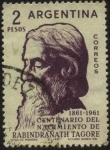 Stamps Argentina -  Sir Rabindranath Tagore. Poeta, filósofo, artista, músico, conocido como el Gurú del Amor. 100 años