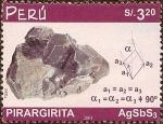 Stamps America - Peru -  Minerales: Pirargirita