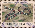 Stamps of the world : Venezuela :  Serpientes: Coral (Micrurus dumerili carinicaudus).