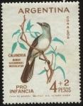 Sellos del Mundo : America : Argentina : Emisión de sellos PRO INFANCIA de la Argentina.  Ave autóctona. Calandria -mimus saturninus modulato