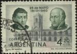 Sellos de America - Argentina -  150 años de la Revolución del 25 de Mayo de 1810. El Cabildo de Buenos Aires. Manuel Alberti y Migue