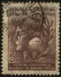 Sellos de America - Argentina -  Primera conferencia nacional de ahorro postal. Octubre de 1943.