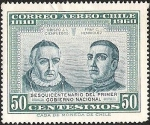 Stamps of the world : Chile :  SESQUICENTENARIO DEL PRIMER GOBIERNO NACIONAL - OBISPO J.L CIENFUEGOS - FRAY CAMILO HENRIQUEZ