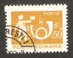 Stamps : Europe : Romania :  cartero y corneta postal