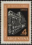 Stamps Argentina -  Centenario del Colegio Nacional de Buenos Aires. Edificio del colegio secundario dependiente de la U