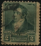 Stamps Argentina -  General Bernardino Rivadavia. 1892 2 centavos