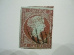 Stamps Europe - Spain -  ISABEL II (PAPEL AZULADO CON FIRIGRANAS LAZOS)
