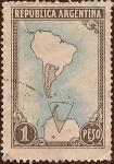 Stamps America - Argentina -  Mapa de Argentina en el continente y la Antártida