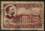 Stamps Argentina -  Banco de la Nación Argentina. Fundado el año 1891 por iniciativa del Presidente Carlos Pellegrini. S