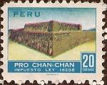 """Stamps : America : Peru :  Pro Chan-Chan - Vista parcial de la Huaca """"El Dragón"""", Templo sureste."""