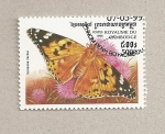 Sellos de Asia - Camboya -  Mariposa Vanessa cardui