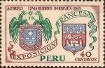 Sellos de America - Perú -  Exposición Francesa - Escudos Lima-Burdeaux.