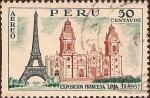 Sellos de America - Perú -  Exposición Francesa - Torre Eiffel-Catedral de Lima.