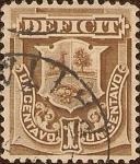 Stamps America - Peru -  Déficit. Escudo de Armas. Un Centavo.