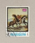 Stamps Asia - Yemen -  Caballos saliendo del mar por Delacroix