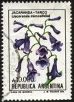 Stamps America - Argentina -  Flor de Jacarandá -Tarco. Jacaranda mimosifolia.