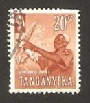 Stamps : Africa : Tanzania :  Tanganika - recoleccion de maíz