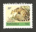 Stamps : Africa : Tanzania :  animal salvaje, genetta tigrina