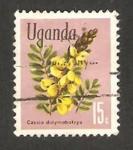 Stamps : Africa : Uganda :  flor cassia didymobotrya